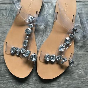e20119e3a6d0 J. Crew Shoes - J. CREW Jeweled Rhinestone Sandals 8 Clear Gems